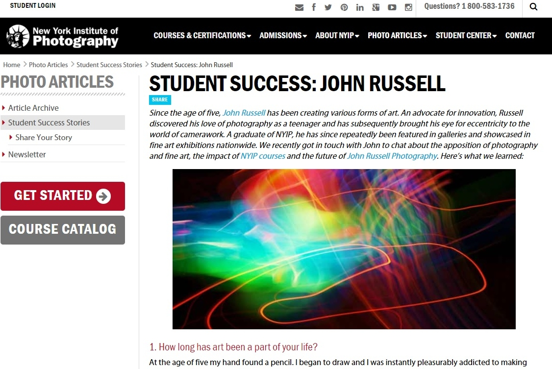 John Russell, artist and photographer, student success story interview/profile at the New York Institute of Photography